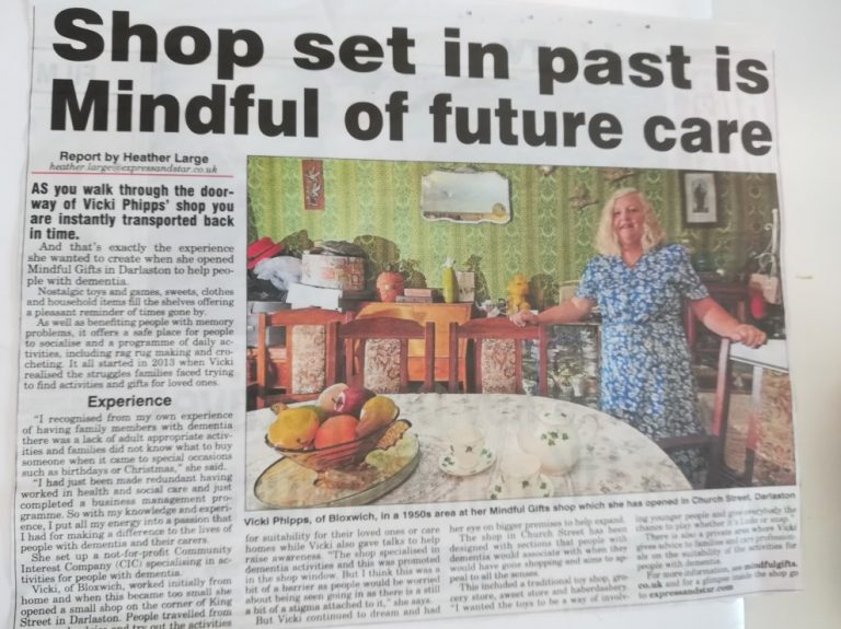 Shop set in the past is Mindful of future care!